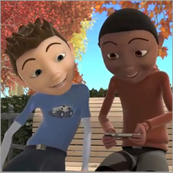 The Social Express helps kids learn social skills with characters like Zack and Sam.